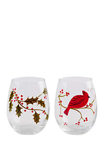 Cardinal and Holly Wine Glass, Set of 2