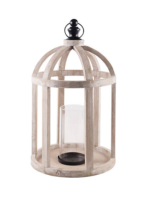 Home Essentials 21.5 in Natural Wood Lantern