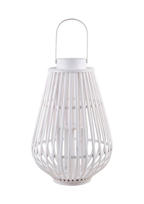 Bazaar 20.5 Inch White Bamboo Lantern