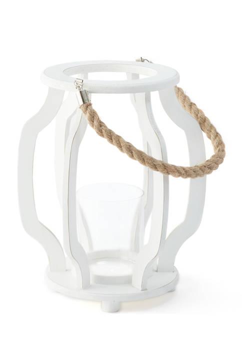 Bazaar 12 Inch White Wood Lantern