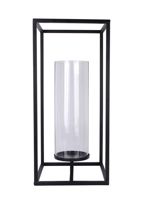 Bazaar 22 Inch Black Floor Hurricane Candle Holder