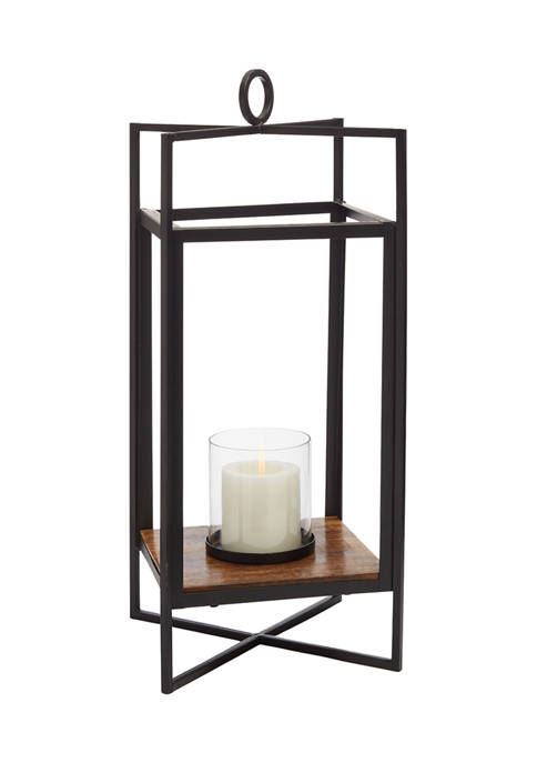 Home Essentials Metal and Wood Lantern with Glass