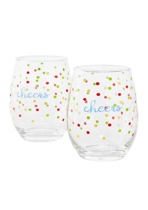 Set of 2 Stemless Wine Glasses with Dots and Cheers
