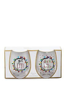 Deck the Halls & Get Lit Stemless Wine Glass Set