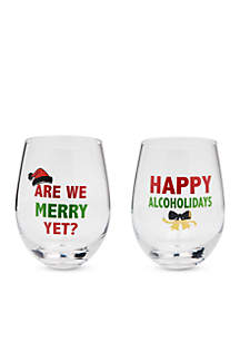 Set of 2 Happy Alcoholidays and Are We Merry Yet? Wine Glass