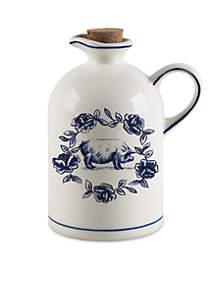 Molly Hatch Vintage Farm Pig Design Handled Oil bottle with Cork Stopper