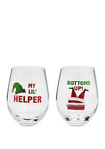 Set of 2 Bottoms Up and My Lil Helper Wine Glass