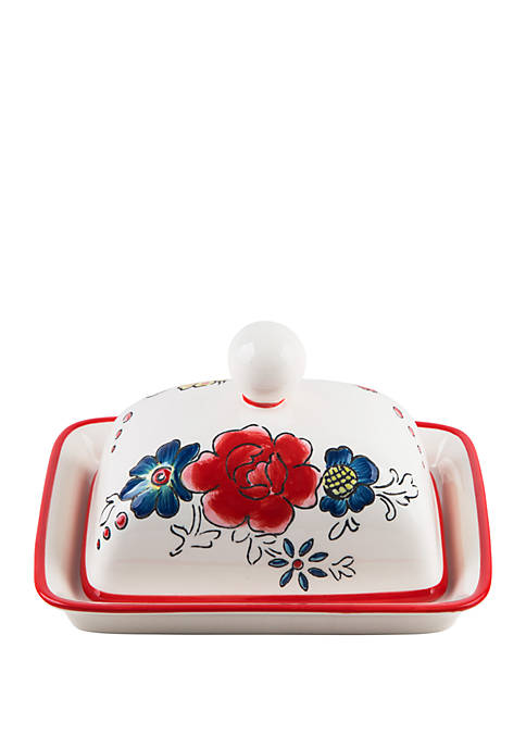 Home Essentials Molly Hatch Flower Patch Butter Dish