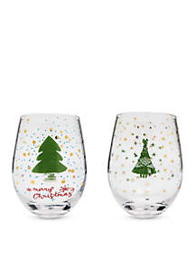 Set of 2 Whimsy Christmas Trees and Merry Christmas Wine Glass