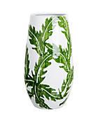 White & Green Leaves Vase