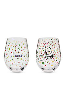 Set of 2 Cheers and Joy Wine Glasses