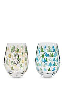 Set of 2 Christmas Tree Wine Glasses