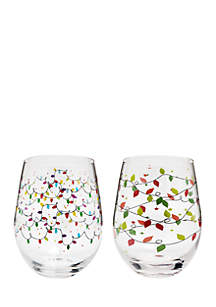 Christmas Lights Wine Glass, Set of 2