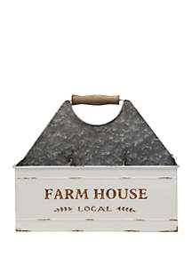 Home Essentials Farmhouse Galvanized Metal Flatware Caddy