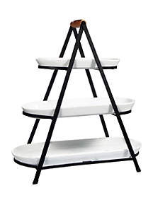 Home Essentials 3 Tier Porcelain and Metal Serving Tower