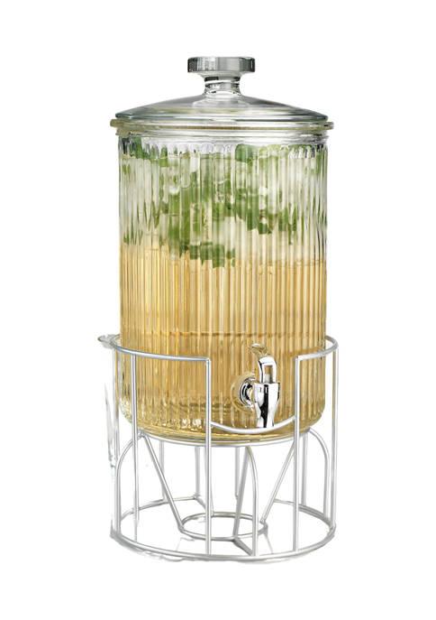 Home Essentials 2 Gallon Glass Ribbed Beverage Dispenser