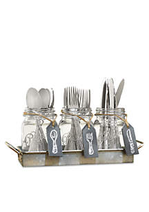 Galvanized Mason Jar Flatware Caddy