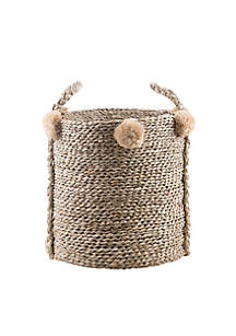Home Essentials Large Seagrass Pom Pom Basket