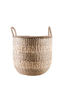 Home Essentials Large Stripe Seagrass Basket