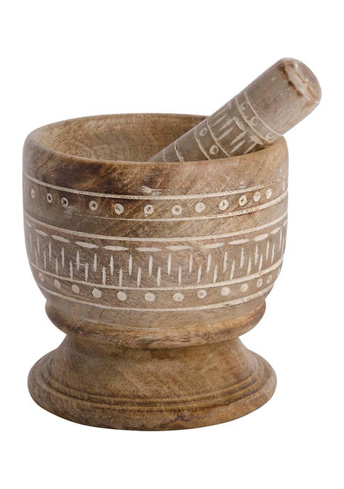 Home Essentials & Beyond Etched Wood Mortar and