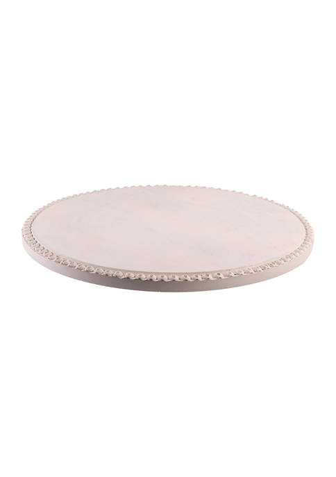 Home Essentials Whitewashed Wooden Beaded Lazy Susan