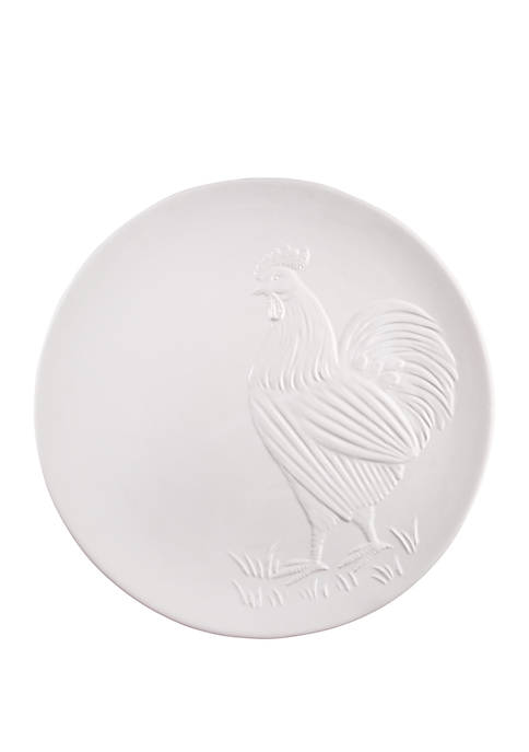 White Rooster Embossed Round Platter