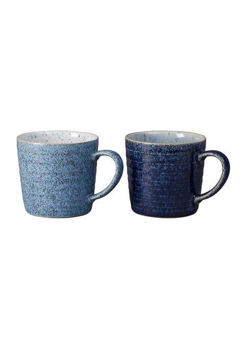 Denby Studio Blue Set of 2 Ridged Mugs