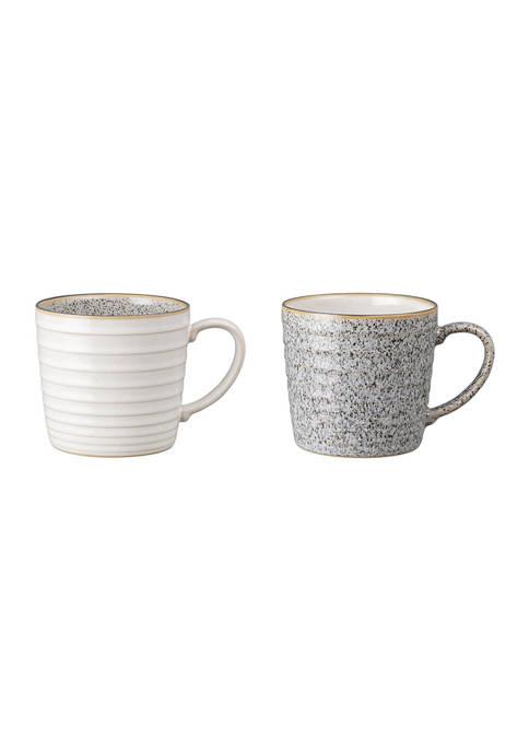 Denby Studio Grey Set of 2 Ridged Mugs