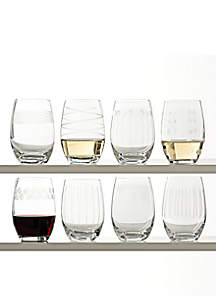 Cheers Stemless Wine Glasses Set of 8