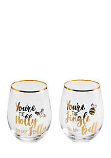 Jingle Bell Holly Jolly Stemless Wine Glasses
