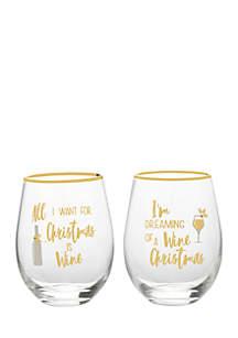 Christmas Stemless Wine Glass Set