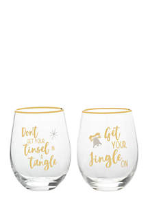 Christmas Stemless Wine Glass Set