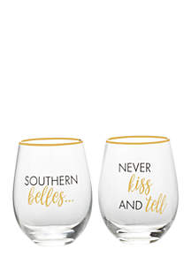Southern Belles Never Kiss and Tell Crystal Drinkware Set