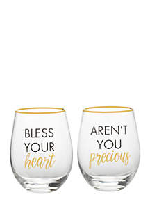 Bless Your Heart/Aren't You Precious Crystal Drinkware Set