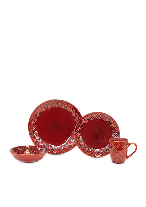 Andaluz 16-Piece Dinnerware Collection - Red