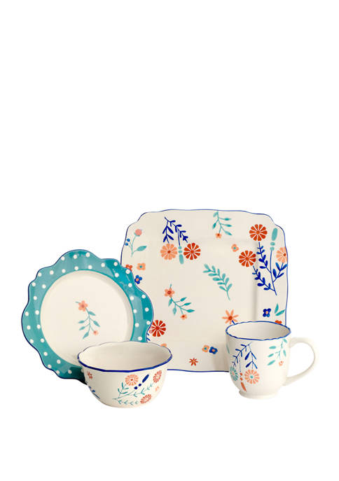 Baum Brothers 16 Piece Blossoming Floral Dinnerware Set