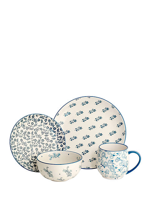 Baum Brothers Calico 16 Piece Floral Dinnerware Set