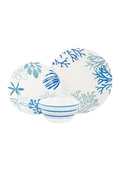 Baum Brothers Coastline Melamine 12 Piece Dinnerware Set