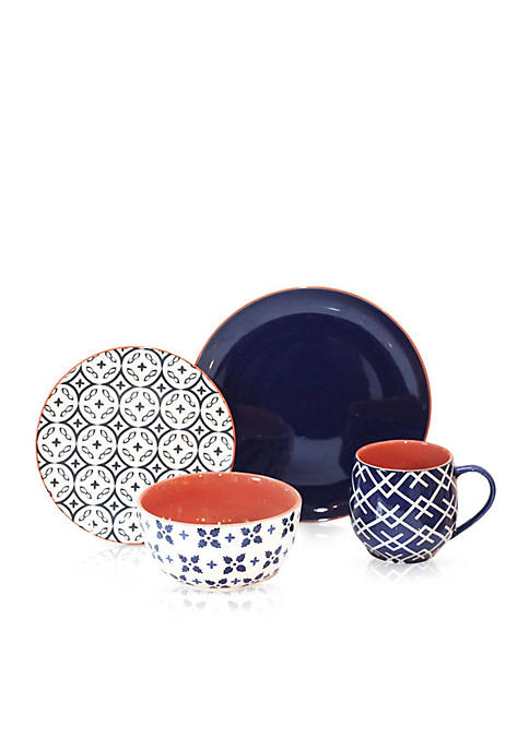 Baum Brothers Corsair Blue 16-Piece Dinnerware Set