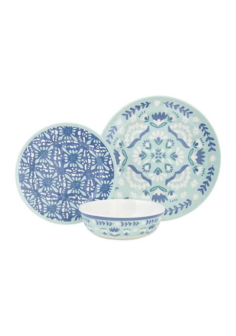 Baum Brothers Folk Medallion Melamine 12 Piece Dinnerware