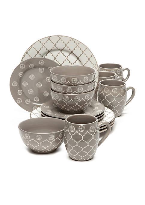 Moroccan Gray 16-Piece Dinnerware Set