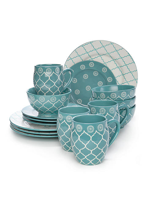 Baum Brothers Moroccan Turquoise 16 Piece Dinnerware Set