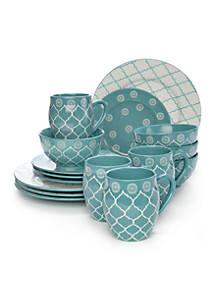 Baum Brothers Moroccan Turquoise 16-Piece Dinnerware Set   belk