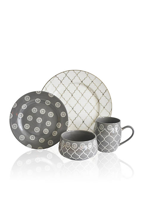 Baum Brothers Moroccan Gray 16-Piece Dinnerware Set