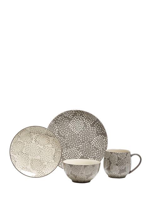 16 Piece Mums Gray Dinnerware Set