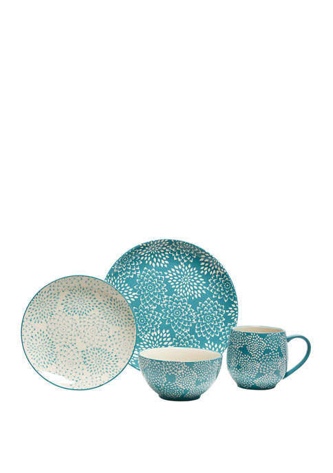 16 Piece Mums Turquoise Dinnerware Set