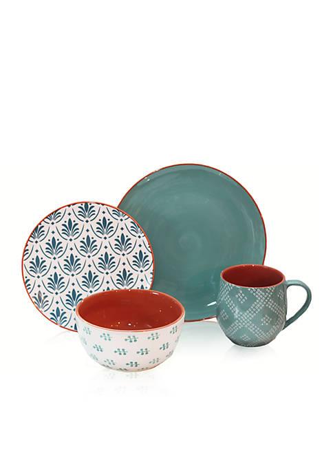 Oasis Turquoise 16-Piece Dinnerware Set
