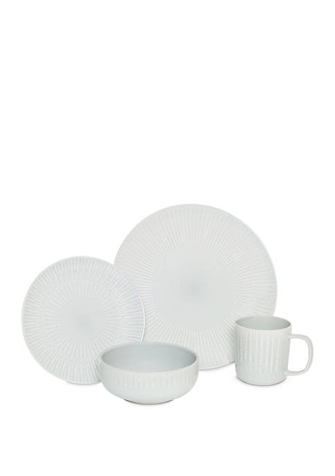 Baum Brothers 16 Piece Optic Gray Dinnerware Set