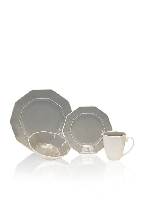 Baum Brothers Prisma Gray 16-Piece Dinnerware Set