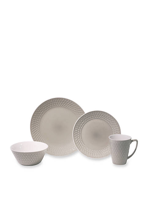 Baum Brothers Pyramid Gray 16-Piece Dinnerware Set